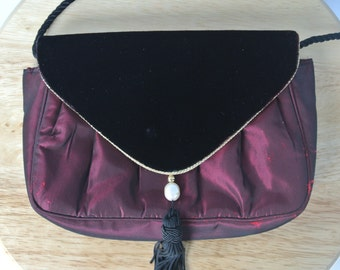 Bloomingdales Red Burgundy Velvet Evening Purse Shoulder Bag with Tassel and Faux Pearl