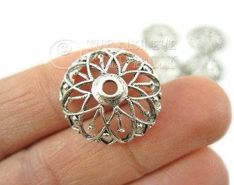 5 pc Filigree Bead Caps, Antique Silver Plated BeadCaps, Round Bead Caps, Turkish Jewelry