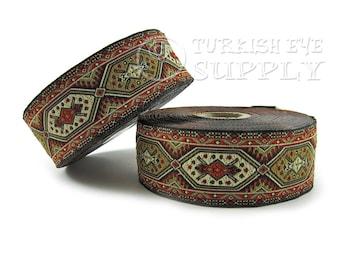 Turkish Carpet Motive Woven Border Embroidered Ribbon Sewing Trim Red Black Beige Jacquard Ribbon 1 Meter ( 1.09 Yards, 3.3 feet )