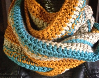 Crochet long Scarf with Fringe, Mustard, Oatmeal and Teal