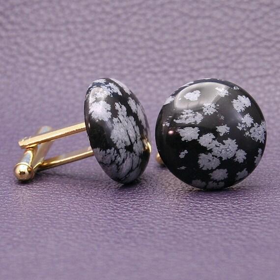 snowflake obsidian gemstone cufflinks 20mm