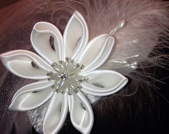 First communion headband white satin feathers pearls