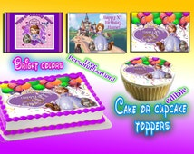 Personalized Sofia the First edible cake or cupcake toppers Birthday - Sugar icing frosting sheet picture photo decal transfer sophia