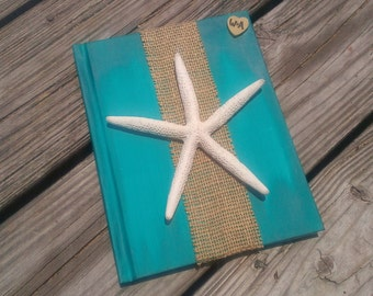 Personalized beach wedding guest book, nautical wedding book, sea side wedding starfish wedding decor