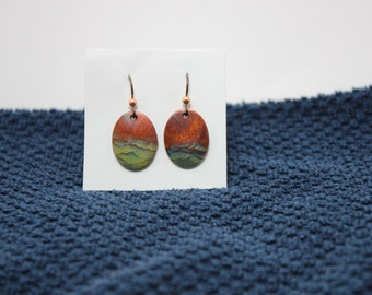 Stormy Seas, Flame painted Copper drop earrings