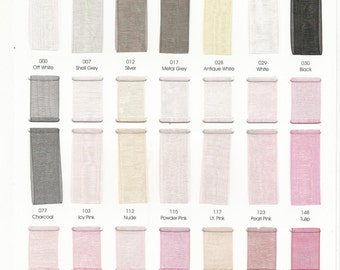 ColourfulLife, Physical  COLOR CHART, Polyester Organza Ribbon, 84 colors Available