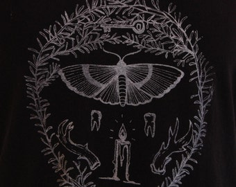 SALE Screen printed occult t-shirt // original illustration of moth, candle, teeth, antlers, rosemary