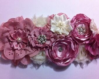 Maternity sash/ pink maternity sash/ maternity photo prop/ flower sash/ vintage sash/ bridal sash/ baby girl
