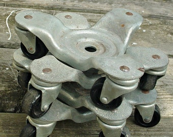 Bassick Vintage 3 Wheel Swivel Casters, Industrial Casters, Steampunk Casters, Set of 4 Furniture Movers, Stove Casters, Swivel Wheels