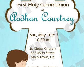 1st Communion Boy Invitation - Also available for girls - No Picture
