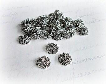 2 Tibetan Antique Silver Bead Caps Acorn Style
