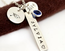 Personalized Graduation Necklace, Class of 2015, Hand Stamped Personalized Gift,Graduation High School College