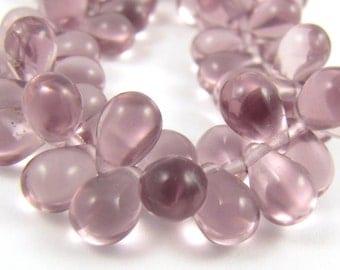 Light Amethyst 6x9mm Tear Drop Czech Glass Beads 25pc #1560