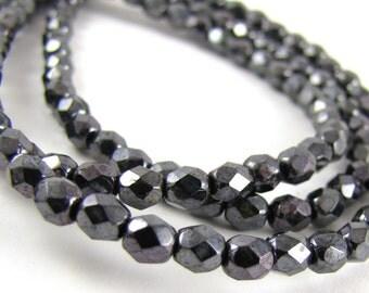 Gun Metal 4mm Facet Round Czech Glass Fire Polished Beads 50pc #624