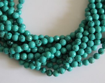 """Stabilized Turqoise 10mm faceted round beads 16"""" length strand"""