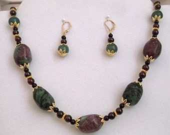 Ruby in Zoisite 18 inch Necklace & Interchangeable Earrings Set  One of a Kind  Free Shipping