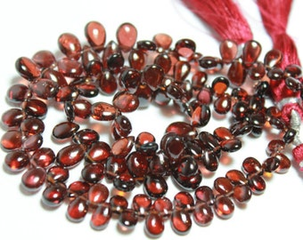 Red Garnet Smooth Polished Pear Briolettes, Size 7-9 mm, 6 beads GM1503SP/7/6 #122