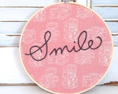 As seen in Canadian Living Blogspot . CHCH TV . Daytime Toronto . smile embroidery hoop . hand embroidery . retro . vintage . camera fabric