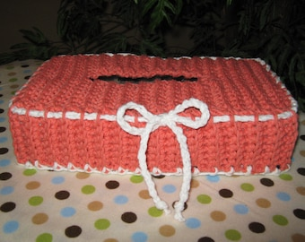 Crochet Tissue Box Cover with accent color on edges (Color: Tangerine with White trim)