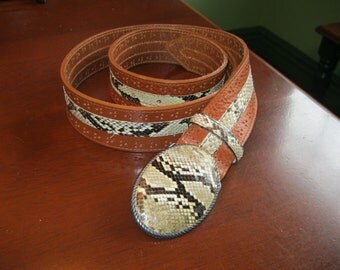 Vintage Snakeskin and Punched Leather Belt with Snakeskin Covered Buckle