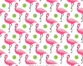 Pink Flamingo with green polka dots Pattern Repeat on White - flamingo paper, flamingo and polka dot paper, digital paper