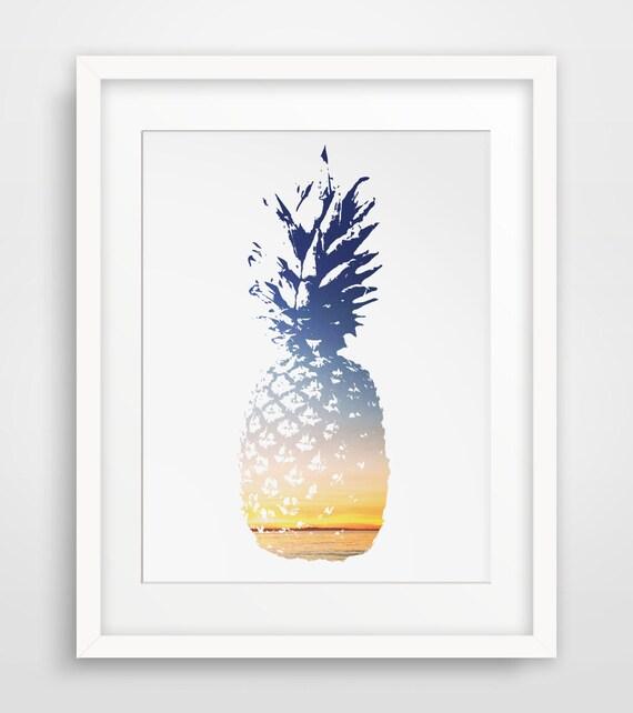 Pineapple Print, Pineapple Art, Summer Print, Summer Art, Blue and Yellow Sunset, Pineapple Print, Pineapple Decor Wall Print, Printable Art