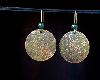 Round Earrings, Circle, Hammered Brass Disc, Modern Gypsy Jewelry