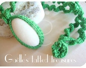 Marble stone hand crocheted necklace