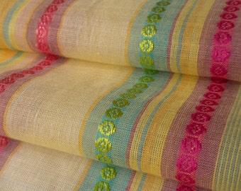 striped cotton voile fabric - ribbon stripe in saffron