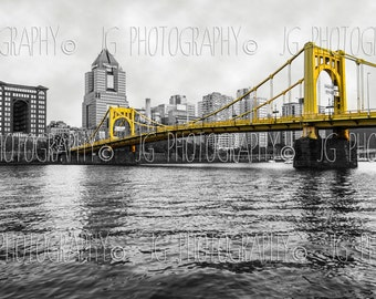 Bright Yellow Bridge (Pittsburgh, Roberto Clemente Bridge, black and white, yellow, pirates, selective color)