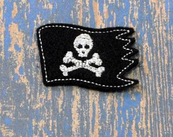 Pirate Flag felties, feltie, machine embroidered, felt applique, felt embellishment, hairbow center