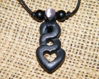 Tribal Heart Necklace beach rock jewelry carved rock art pendant primitive heart design natural stone minimalist jewelry boho jewelry