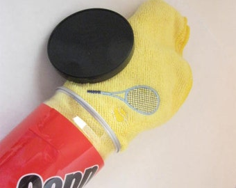Embroidered Tennis Racket and Ball Yellow Microfiber Sports Towel Personalized