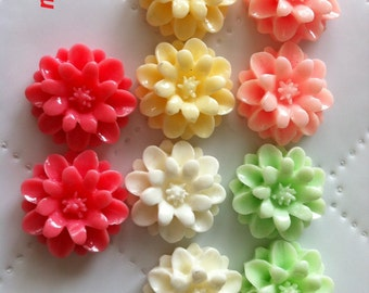 10 pcs 17 mm Cabochon Flowers, resin flower, cabochon flower, great for necklace,, earring, ring,  ,pendant