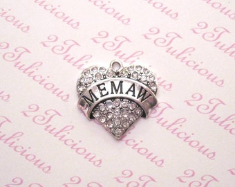 Antique Silver Memaw Heart Crystal Pendant Great Grandmother Grandma Charm Family