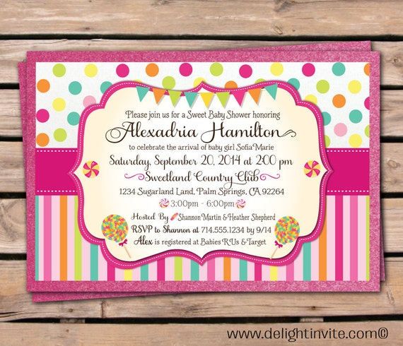 candyland baby shower invitation by delightinvite on etsy