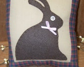 Hand Appliqued Wool Felt Chocolate Bunny Pillow