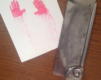 Bloody handprints Halloween card. Horror. Blood. Gore. Blank inside.