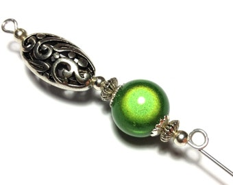 """5"""" Green Miracle Bead Hat Pin Vintage Antique Tibetan Silver Style - With Pin Protector (HP4-31)"""