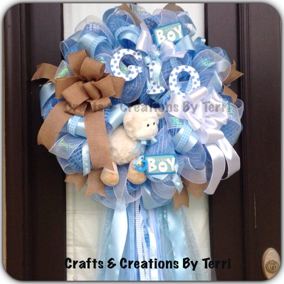 Items Similar To Baby Boy Wreath Personalized Wreath