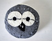 Handmade knitted owl ottoman in pure wool.Eco design owl pillow  grey and white for kids and home decor.