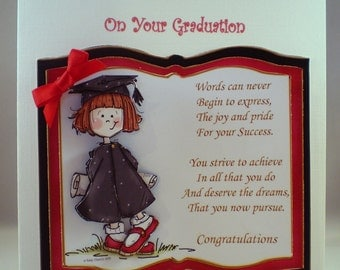 Handmade Graduation Card, female,3D,decoupage