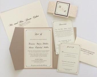 Wedding Invitation Pocketfold Invite   Neutral Wedding Invite DEPOSIT TO BEGIN