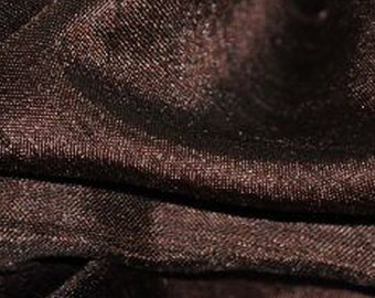 """Satin Shantung Solid Fabric DARK BROWN / 60"""" Wide / Sold by the yard"""