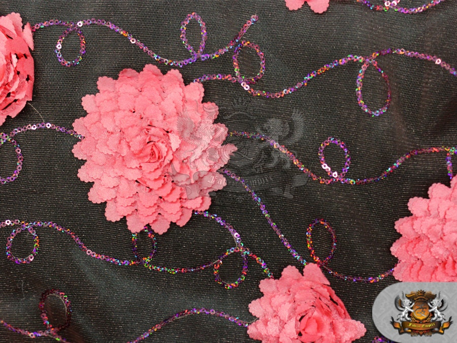 Mesh embroidered floral sequin fabric coral by