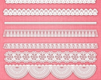 Cute White Lace Borders Clip Art Pack Printable Instant Download for Personal and Commercial Use.