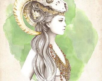 Ilustración: Lady Skull. LIMITED EDITION.