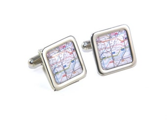 England UK Transport Tube London Underground Map Cufflinks
