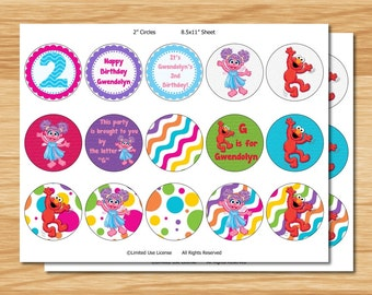 "Abby and Elmo 2"" Cupcake Toppers"