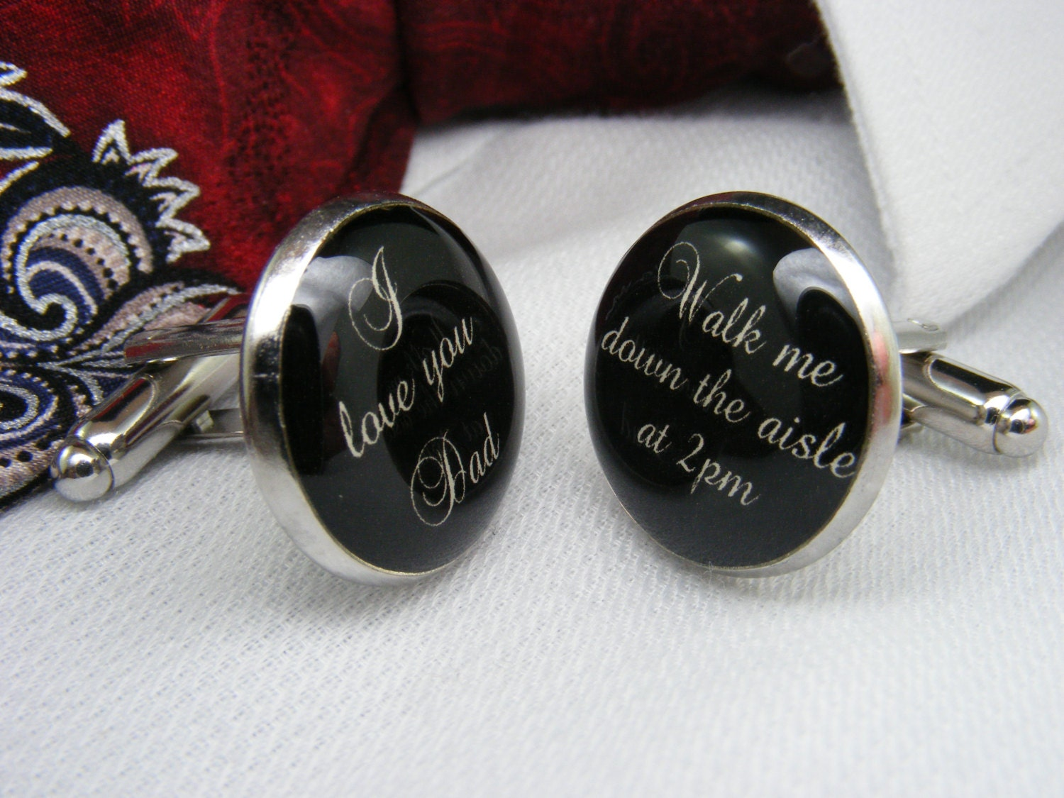 I Love You Dad Walk Me Down The Aisle At 2pm Cufflinks